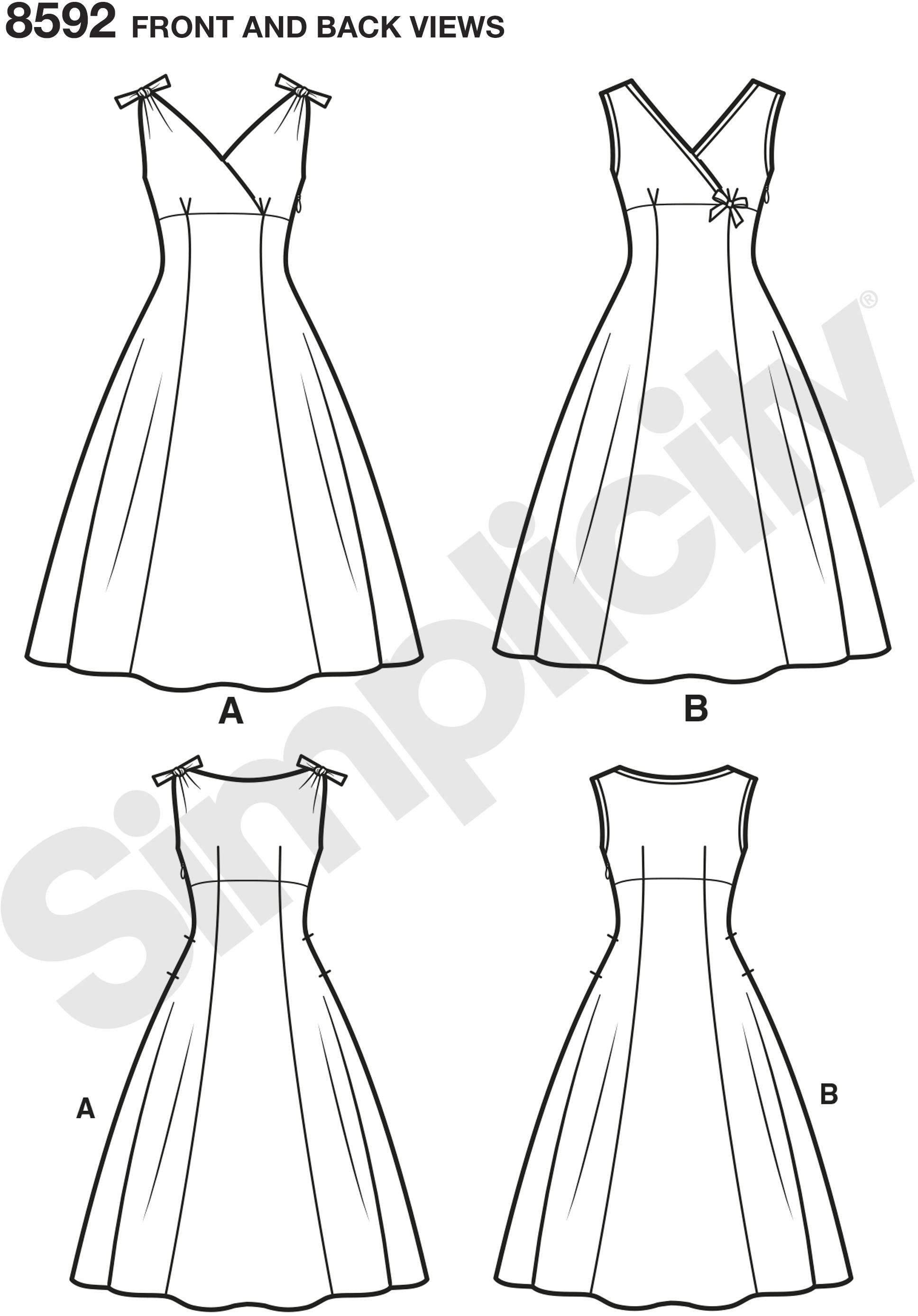 This Simplicity vintage pattern circa 1950s features a flattering sleeveless dress with empire lines. Simplicity authentic vintage sewing pattern styled for Misses and Women.