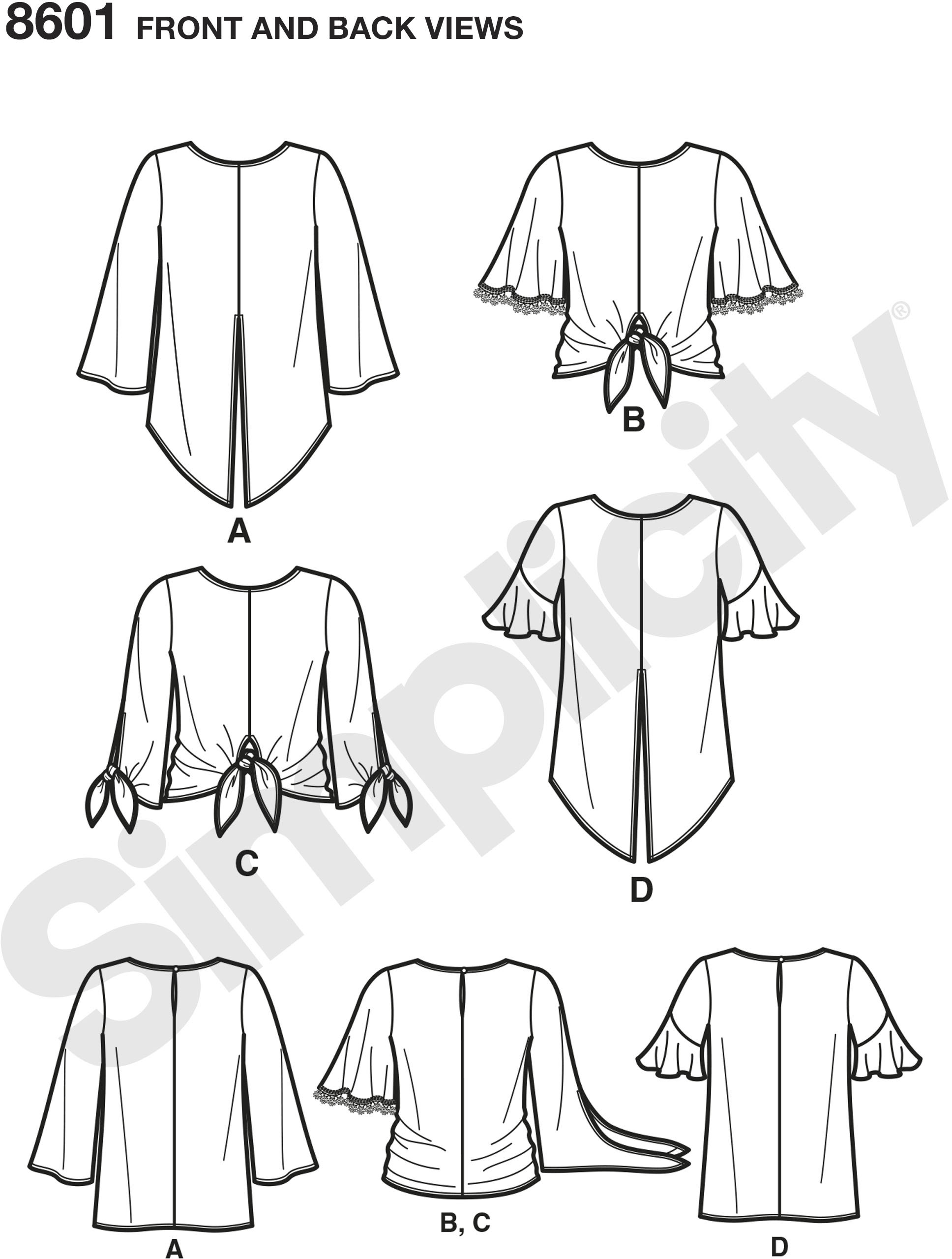 This easy-to-sew pullover tops for Misses feature tie waist and sleeve variations. Create a trendy look by adding trims to the sleeves.