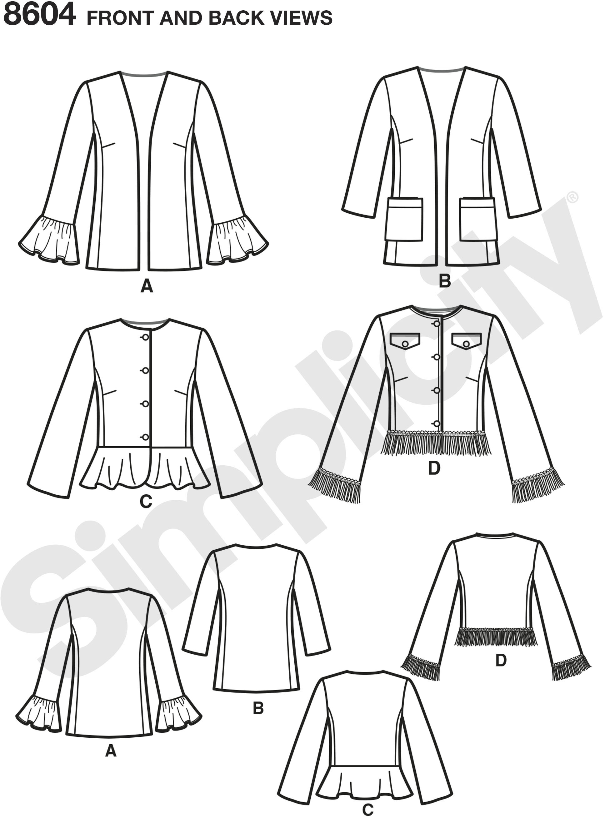 These Misses and Petites lined jackets are the perfect anyday coordinate. Jackets feature collarless design with optional button closure, plus length and sleeve variations. Simplicity sewing pattern from the Threads magazine collection.