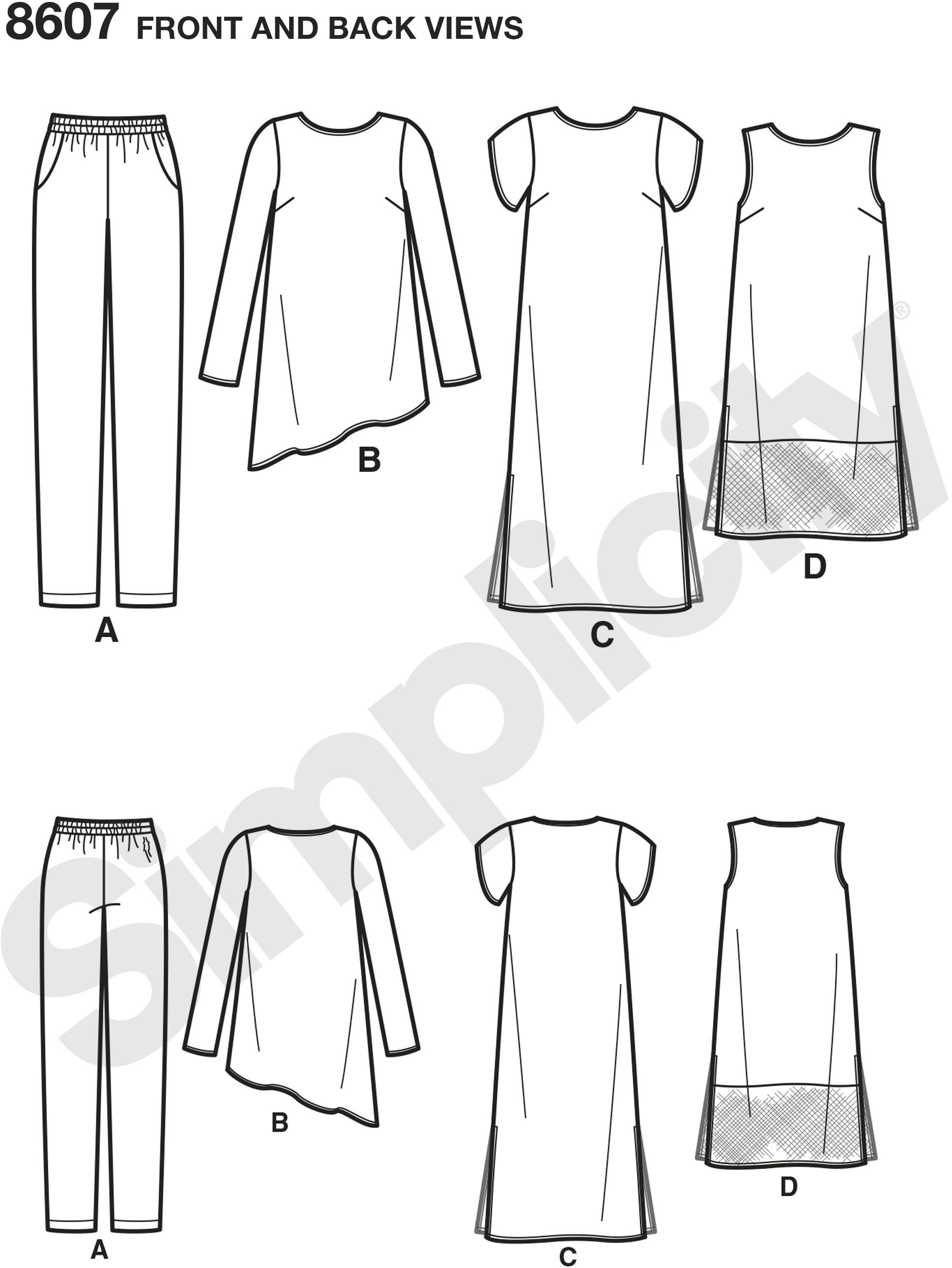 Create Misses easy to sew separates sized XXS to XXL, including slim pull-on pants, dress with side slits, asymmetrical tunic top, and sleeveless tunic with sheer panel. Simplicity sewing pattern