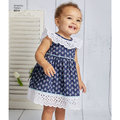 Create adorable outfits for Baby this spring with a sweet dress, romper and panties. This pattern features ruffles, rickrack trim, and a back bow interest.