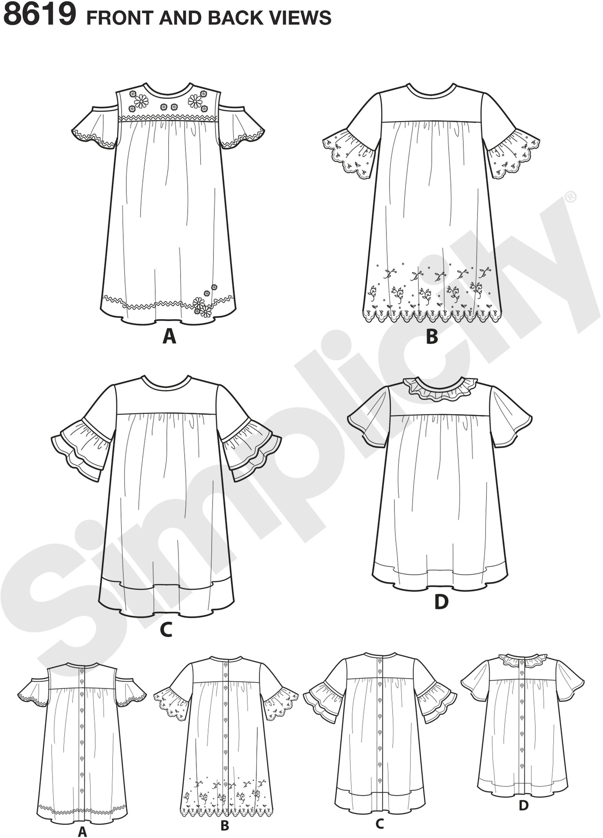 Make these easy-to-sew dresses and tunic for children sizes 3 to 8, featuring sleeve and fabric variations.