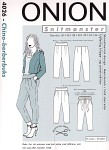 The pants are here shown with a short jacket with standup collar that can be sewn after pattern no. 1040.