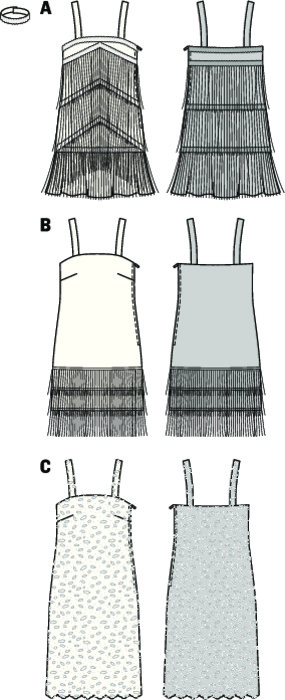 Back to the Charleston in these glamorous, sexy sleeveless dresses. Dress A with sophisticated slanting fringe braids. B with three hem braids of fringes. C from lace fabric with one-sided scallop edge. Proposal: Why not choose decorative curtain fabrics. Matching accessories are pearl necklaces, feather boa and cigarette holder.