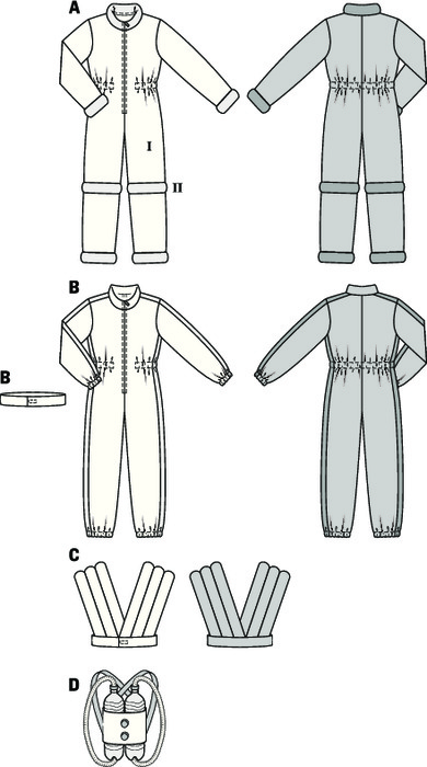 For boys, adventures are the greatest, and they will love this astronaut jump suit. Either gold-colored like an alien from a distant star, with padded vest, or silver-colored with stitched-on side stripes. Appropriate equipment, simply made from empty conduits and plastic bottles and strapped on the back.