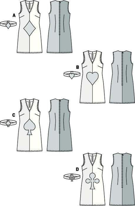 Sleeveless dress with V-neck, quickly sewn from two fabrics, ornamented with card game symbols – hearts, diamonds, spades or clubs. Matching bandeau with Velcro closure.