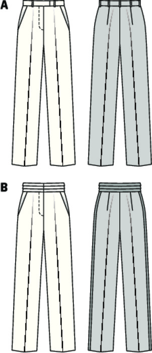 Classy, straight cut pants with waistband for an appearance in style, either at work or just as well in the evening, then with satin striping and high-sheen cummerbund.