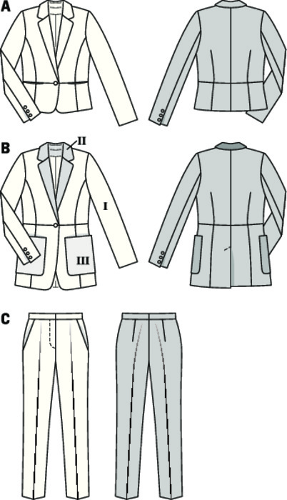 No need to ever re-invent the pantsuit, it always adapts to the current trends of fashion. Two matching sports jackets, covering individual demands. Short variant A with pockets in the cross seam. Long jacket B in two-tone optics with striking pocket solutions. Unobtrusive design of the slender pants which discretely remain in the background.