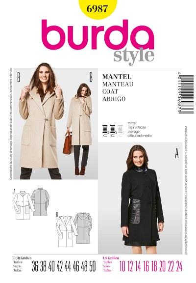 Coat, hood, standing collar