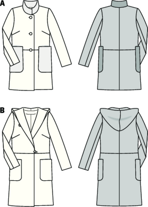 Two stylish coat variants, matching both pants and skirts. Cute variant A with standing collar and large pockets in imitation leather. Variant B: reduced duffle-optics with large hood, toggle buttons.
