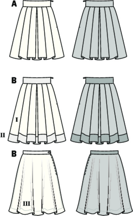 The skirt with broad waistband gets extra-fullness from the laid folds. Variant A pleases both with prints or just as well with solid color fabric. Skirt B with hem facing, tone-in-tone, with double-layered underskirt from organza which assures shape retention.