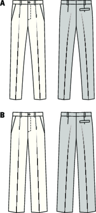 Two variants of men's pants, with differently wide legs. Both versions with transverse pockets, one waistband pleat and one seat pocket. Pants A with legs tapering towards the hem. B with full, straight legs.