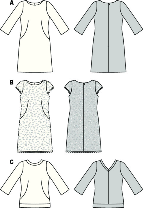 Unsophisticated seam lines with darts enhancing the waist a little, bateau neck und slightly flared hem. Dress A and shirt C with long, flared ¾ sleeves. Shirt with banded edges and charming neck band which forms a tiny rear V-neck. Dress B from lace fabric with half-sleeves and appliqué scallop edges.