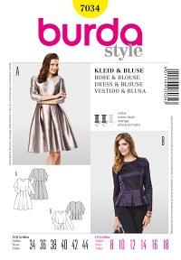 Burda pattern: Style of the Fifties, Box Pleats, Blouse, Peplum
