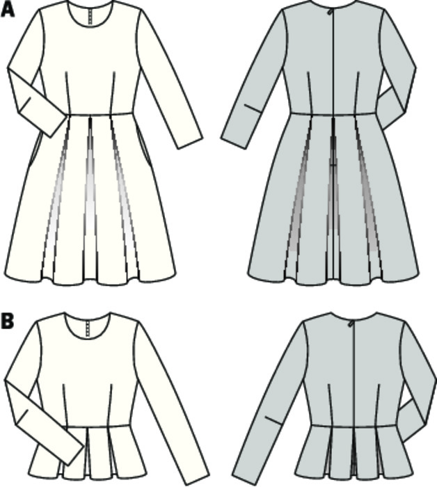 The X-shape silhouette is back, accentuating the waist or the hips. Dress with ¾ sleeves and added, pleated skirt, which, depending on the occasion, can be interpreted feminine or festive. The box pleats of the cute peplum blouse spread from the hips.