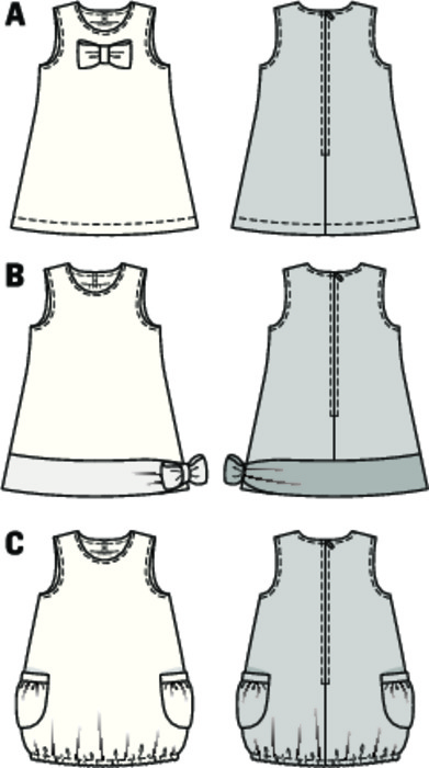 Three chic sleeveless dresses, designed in different ways, quick and easy to sew. Variant A with ornamental bow. B with contrast hem band and bow at one side. O-shape variant C, with elastic casing at the hem.