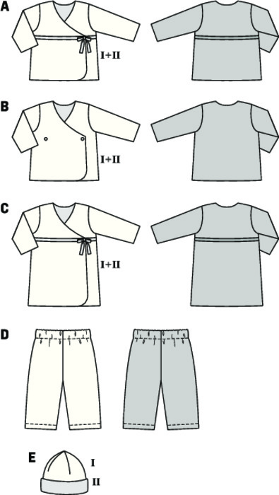 Toddlers' coordinates from jersey which guarantee wearing ease. The wrap shirts are doubled with contrast fabric and very easy to pull on. The cap is sewn in one piece, with darts, and doubled with contrast fabric, too. The pants with elastic casing are quick and easy to sew from a matching color.