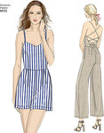 Whether you're looking for a dress, jumpsuit or romper this pattern has it all. Featuring strappy back detailing with neckline options and invisible pockets. Simplicity sewing pattern.