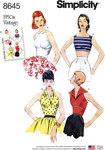 Simplicity 8645. Women's Vintage Tops.