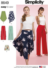 Simplicity 8649. Women's Easy to Sew Knit Bottoms.
