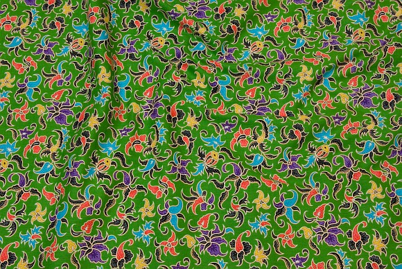 Classic green cotton with multicolored pattern