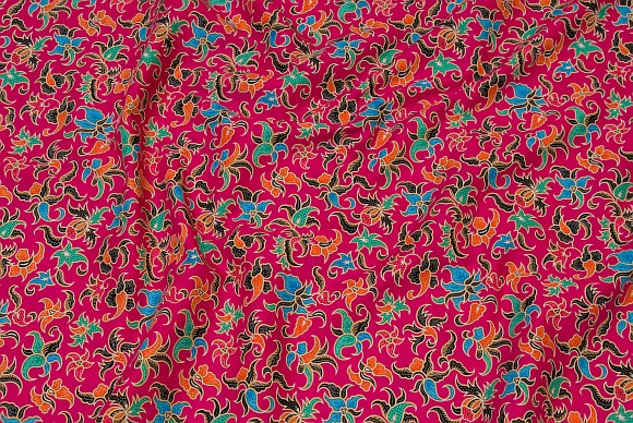 Classic pink cotton with multicolored pattern