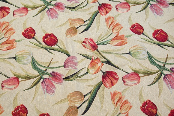 Furniture fabric in creme color with tulips