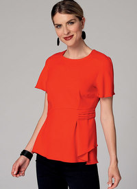 Butterick 6375. Raglan Sleeve Blouses with Asymmetrical Pleat.