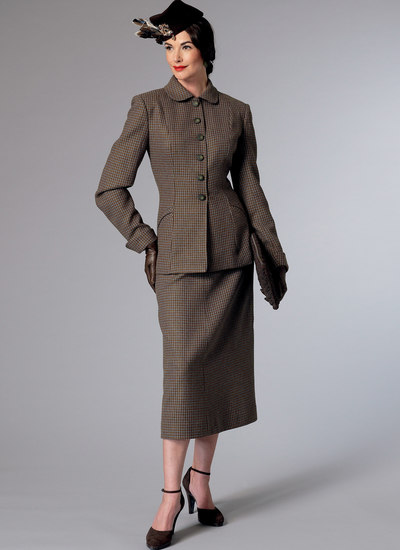 Jacket with Shaped Pockets and Midi-Length Skirt