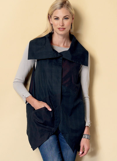 Collared Vests with Asymmetrical Hems