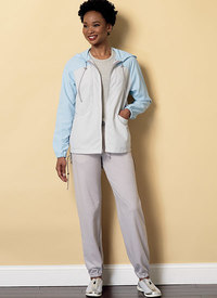 Seamed Jacket with Hood and Drawstring Pants