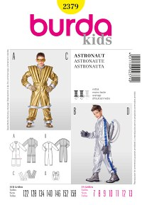 Astronaut, jump-suit, vest, backpack. Burda 2379.