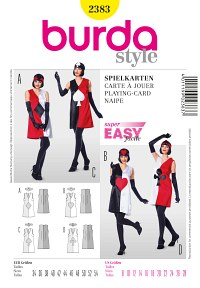Dress with cardplay motif. Burda 2383.