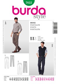 Mens Pants – One Waistband Pleat. Burda 7022.