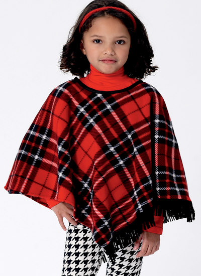 Girls Capes and Poncho with Hood, Collar or Fringe Trim