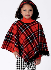 Girls´ Capes and Poncho with Hood, Collar or Fringe Trim. Butterick 6373.