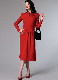 Swan-Neck or Shawl Collar Dresses with Asymmetrical Gathers. Butterick 6374.