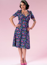 Sweeheart-Neckline Dress with Gathered Bodice. Butterick 6380.