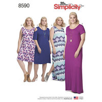 Knit Dresses. Simplicity 8590.