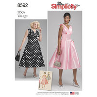 Vintage Dress with v-neck. Simplicity 8592.
