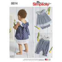 Babies Dress, Romper and Panties. Simplicity 8614.
