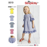 Childs Easy to Sew Dresses. Simplicity 8619.