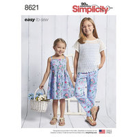 Dress, Top, Pants and Camisole for girls. Simplicity 8621.