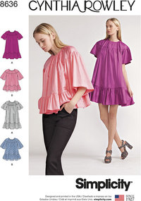 Women's Dress and Top by Cynthia Rowley. Simplicity 8636.