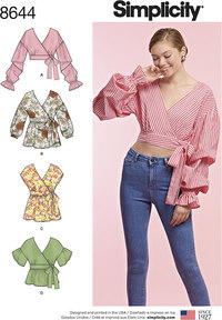 Women's Wrap Tops. Simplicity 8644.