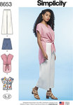 Simplicity 8653. Plus Size Wide Leg Trousers and Shirt with Length Varations.