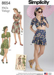 Simplicity 8654. Women's Vintage Skirt, Shorts and Tie Top.