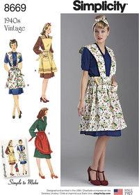 Women's Vintage Aprons. Simplicity 8669.