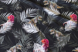 Black cotton-jersey with dinosaurs and leaves