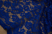Cobolt-blue dress-lace-fabric with scallops in both sides